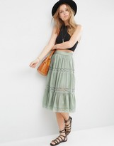 Asos Midi Skirt with Lace Inserts and Tiering