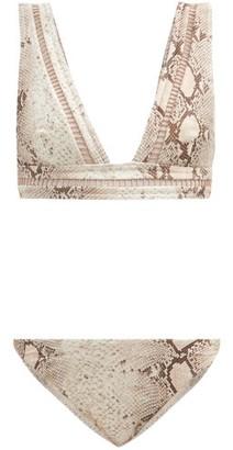 Zimmermann Bellitude Ladder-lace Snake-print Bikini - Beige Print