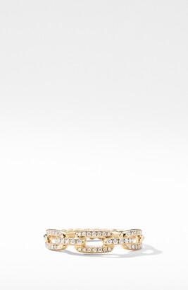 David Yurman Stax 18K Gold Single Row Pave Chain Link Ring with Diamonds