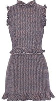 Rebecca Taylor Ruffle-trimmed Cotton-blend Tweed Mini Dress