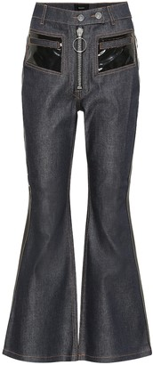 Ellery Vinyl-embellished flared jeans