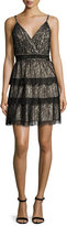 Alice + Olivia Olive Tiered Lace Mini Dress, Black/Brown