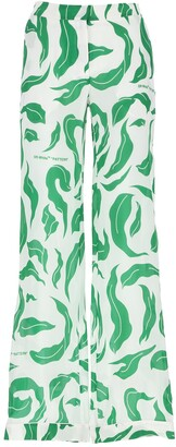Off-White Leaves Detail Palazzo Pants