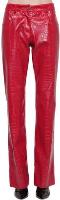 MSGM CROC EMBOSSED FAUX LEATHER PANTS
