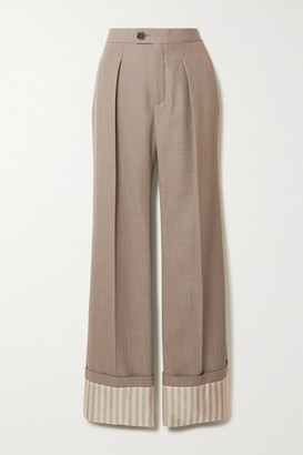 Chloé Pleated Wool And Pinstriped Silk Wide-leg Pants - Green