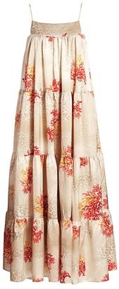 Adriana Iglesias Sky Tiered Strtech-Silk Babydoll Swing Dress
