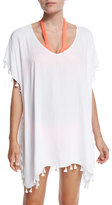 Seafolly Bling Beach Tassel-Trim Coverup, White