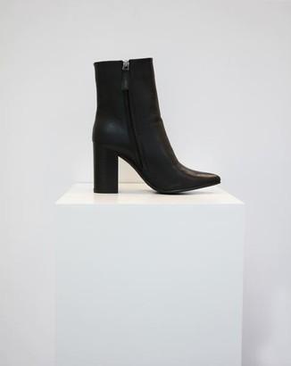 Collection & Co - Pelion Black Block Heeled Boot - 40 / Black