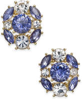 Charter Club Gold-Tone Blue & Clear Crystal Stud Earrings, Created for Macy's