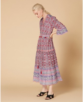 Derhy Printed Cotton Boho Maxi Dress with Tie-Waist and 3/4 Length Sleeves