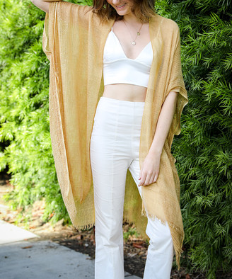 Leto Collection Women's Kimono Cardigans GOLD - Gold Sequin-Accent Fringe-Hem Kimono - Women