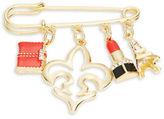 RJ Graziano Eiffel Tower and Lipstick Charm Fashion Safety Pin