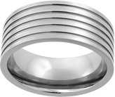 Sabrina Silver Titanium 9mm Wedding Band Ring 5 Grooves Flat polished Finish Comfort Fit, size 9
