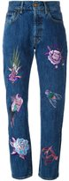 Aries embroidered high-waisted jeans