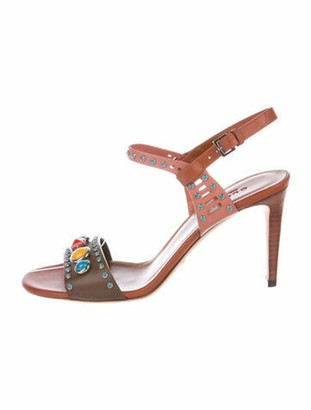 Gucci Leather Studded Accents Sandals Brown