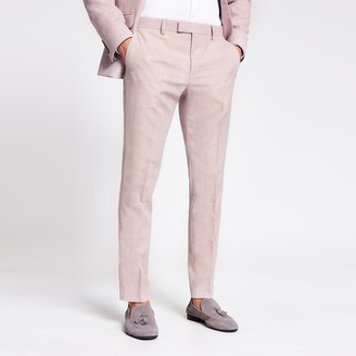 River Island Mens Pink textured skinny suit trousers
