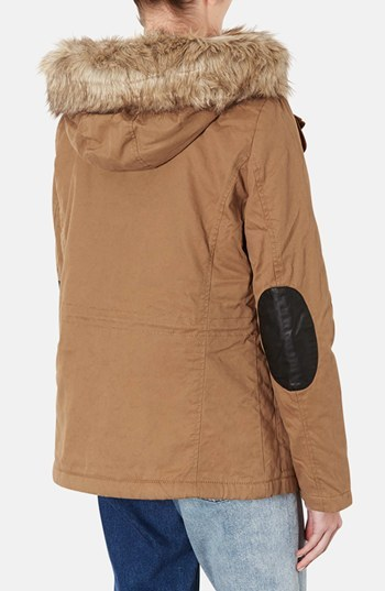 Topshop Removable Faux Fur Trim Parka
