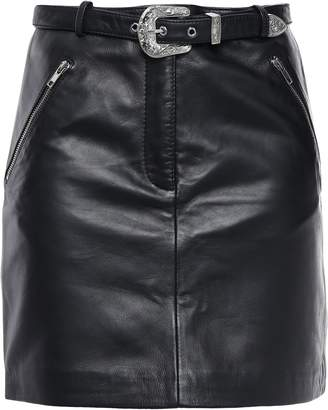 Maje Zip-detailed Leather Mini Skirt