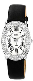 Badgley Mischka Women's Black Large Oval Leather Watch