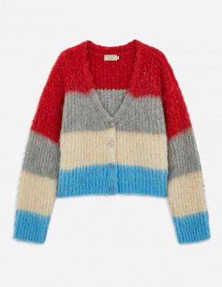 MAISON KITSUNÉ Blue Stripes Fluffy Boxy Cardigan - s