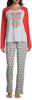 North Pole Trading Co. Christmas Wish Family Long Sleeve Womens-Petite Pant Pajama Set 2-pc.