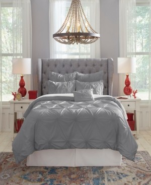 Safah Pointehaven Knotted Pintuck Full Comforter Set, 6 Piece Bedding