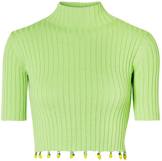 STAUD Rocky Embellished Ribbed Cotton Turtleneck Top