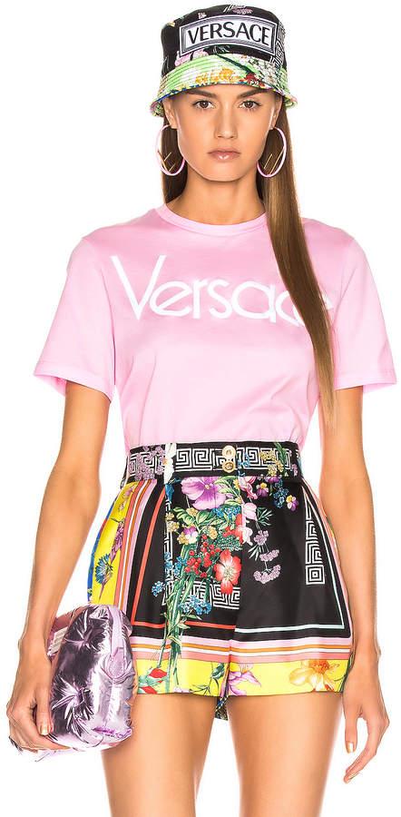 Versace Logo Tee Shirt in Pink   FWRD