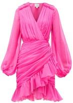 Giambattista Valli Ruffle-trimmed Draped Silk-georgette Dress - Womens - Pink