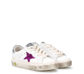 Golden Goose Kids May glitter star trainers