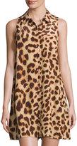 Equipment Mina Leopard-Print Silk Shirtdress, Nude Multi