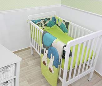 Camilla And Marc ToTs by Smartrike 240-103, Joy Rabbit bed set, consiting of a blanket, cot bumper, made of 100% wool satin, 100% PES filling, blanket: 100 cm x 120 cm, cot bumper: 32 cm x 176 cm, fitted sheet 140 cm x 70 cm, green/blue