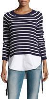 Neiman Marcus Striped Layered Sweater, Blue/White