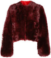 Calvin Klein Overized Cropped Alpaca Coat - Burgundy