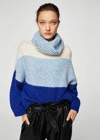 MANGO Stand-collar striped sweater