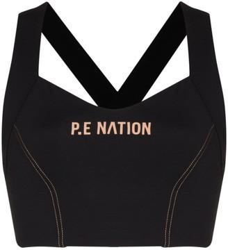 P.E Nation Elevation logo-print sports bra