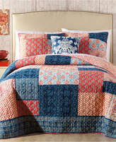 Jessica Simpson Grace Cotton Reversible Patchwork Printed King Quilt Bedding