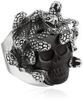 King Baby Studio Medusa Skull with Carved Jet Ring