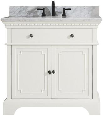 "Carrera Azzuri Avanity Hastings Vanity w White Marble Top, French White, 37"""