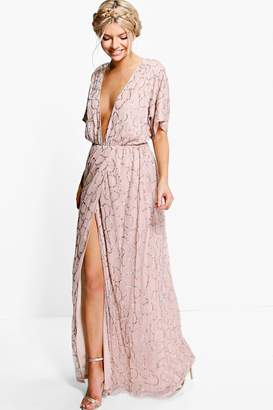 boohoo Boutique Sequin Plunge Maxi Bridesmaid Dress