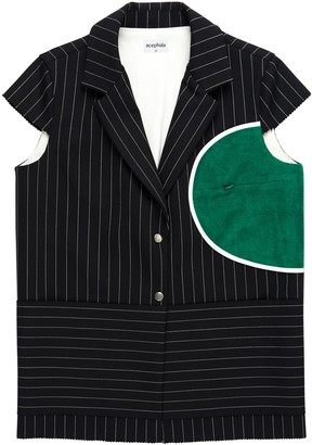 Acephala Single Breasted Striped Blazer With Cap Sleeve