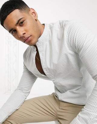 Topman long sleeve striped oxford shirt in sage & white