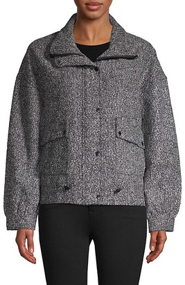 DOLCE CABO Houndstooth Tweed Wool-Blend Jacket