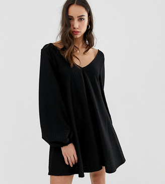 Asos Tall DESIGN Tall exclusive textured mini v neck swing dress-Black