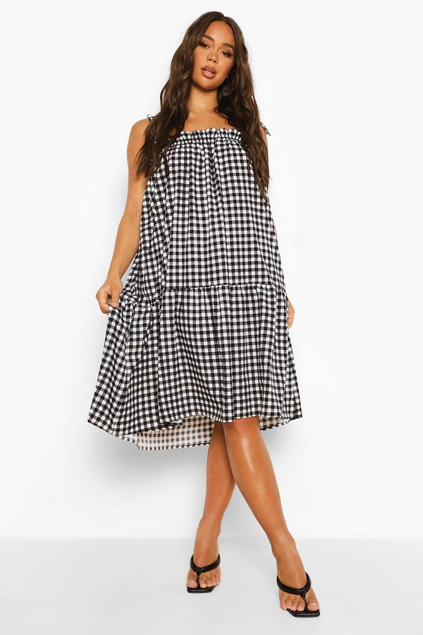 Thumbnail for your product : boohoo Gingham Tie Detail Strappy Midi Smock Dress