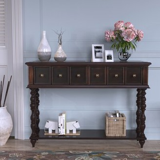 Rosalind Wheeler Charis 48.03'' Solid Wood Console Table Color: Black