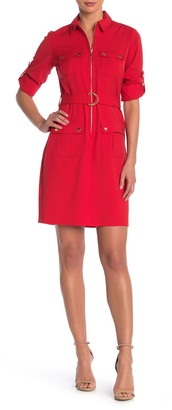Sharagano Belted Front Zip Utility Shirt Dress
