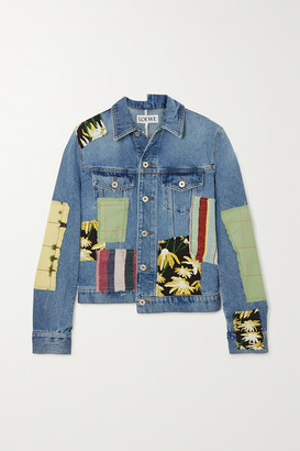Loewe Patchwork Denim Printed Cotton And Silk-blend Jacket - Blue