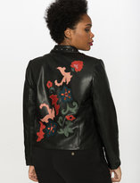 ELOQUII Plus Size Studio Applique Faux Leather Moto Jacket