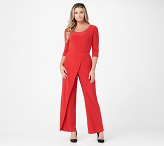 Women With Control Attitudes by Renee Regular Overlay Como Jersey Wide-Leg Jumpsuit